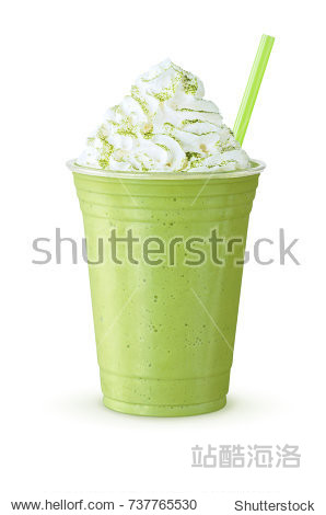 Cold Matcha Green Tea Frappe or Shake with Whipped Cream and Straw on White Background