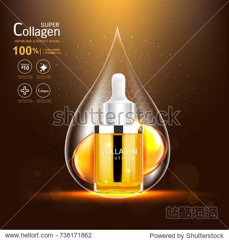 Super Collagen or Serum Vitamin Vector Background for Skin Care Cosmetic Products.