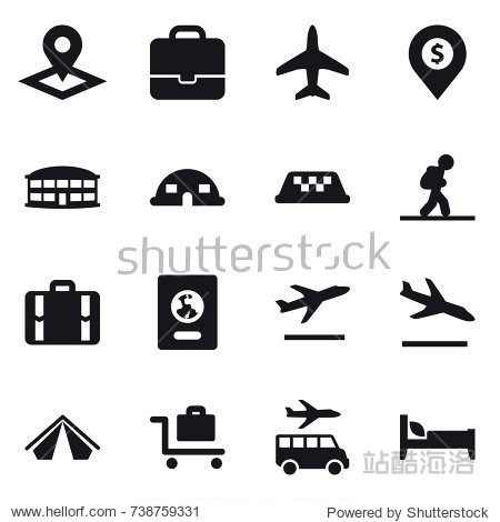 16 vector icon set : pointer  portfolio  plane  dollar pin  airport building  dome house  taxi  tourist  suitcase  passport  departure  arrival  tent  baggage trolley  transfer  bed