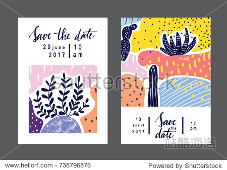 Set of creative universal geometric cards. Designs for prints  wedding  anniversary  birthday  Valentine's day  party invitations  posters  cards  etc. Vector. Isolated.