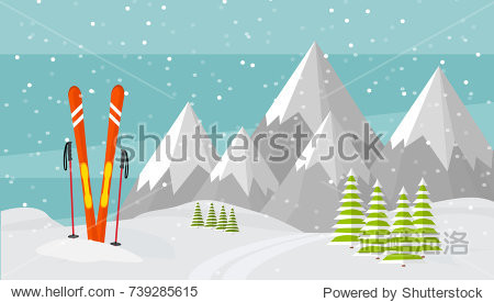 Ski equipment  trail  Alps  fir trees  falling snow  mountains panoramic background  flat vector illustration. Ski resort season is open. Winter web banner design.