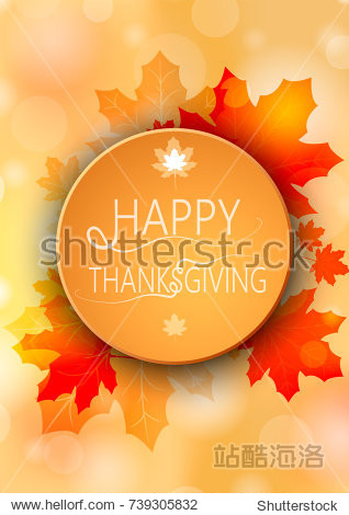 Banner Happy Thanksgiving on autumn round background. Vector illustration.