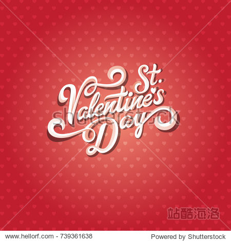 Valentines Day Text Lettering calligraphic composition vector Poster template. Happy Holiday greeting card with ribbon vintage style.