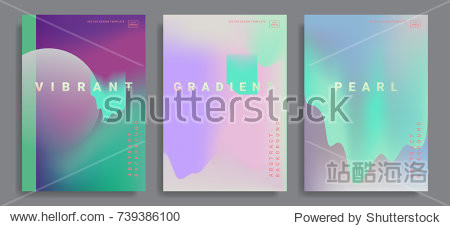 Set of poster covers with color vibrant gradient background. Trendy modern design. Vector templates for placards  banners  flyers  presentations and reports. Vector illustration. Eps10