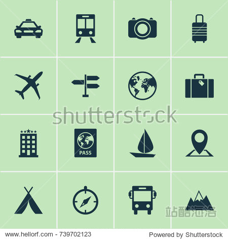 Traveling Icons Set. Collection Of Mount  Direction  Certificate And Other Elements. Also Includes Symbols Such As Airplane  Baggage  Railway.