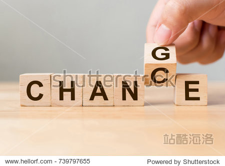 Hand flip wooden cube with word change to chance  Personal development and career growth or change yourself concept