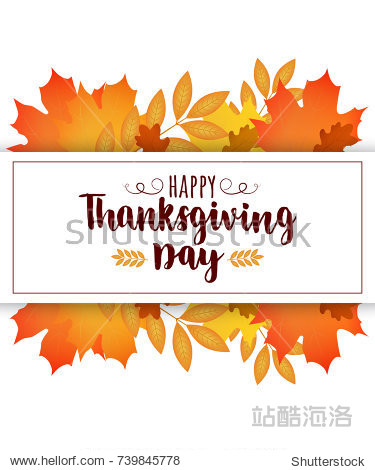 Happy Thanksgiving day card. Vector autumn leaves with greeting  lettering
