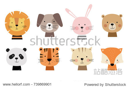 Cartoon cute animals for baby card and invitation. Vector illustration. Lion  dog  bunny  bear  panda  tiger  cat  fox.