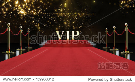 Red Event Carpet  Stair and Gold Rope Barrier Concept of Success and Triumph  3d rendering.