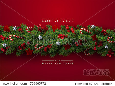 Holiday's Background with Season Wishes and Border of Realistic Looking Christmas Tree Branches Decorated with Berries  Stars and Candy Canes.