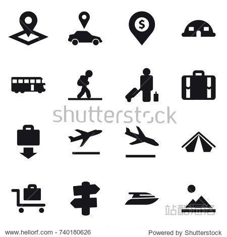 16 vector icon set : pointer  car pointer  dollar pin  dome house  bus  tourist  passenger  suitcase  baggage get  departure  arrival  tent  baggage trolley  signpost  yacht  landscape