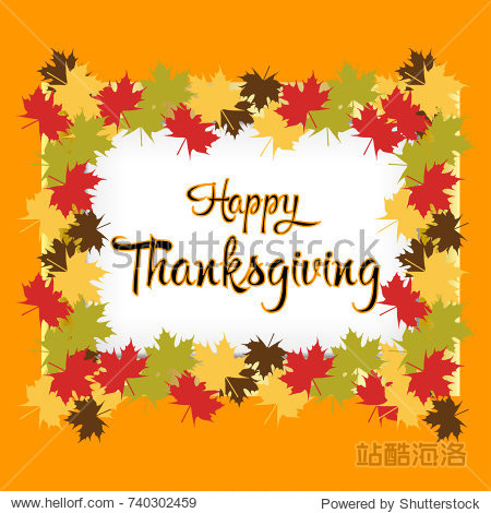 Happy Thanksgiving Day celebrations greeting card design with hanging maple leaves
