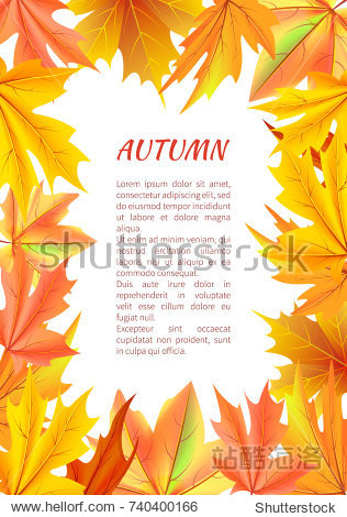 Autumn background with frame made of leaves vector illustration with place for text on white backdrop maple leaf foliage in fall season concept
