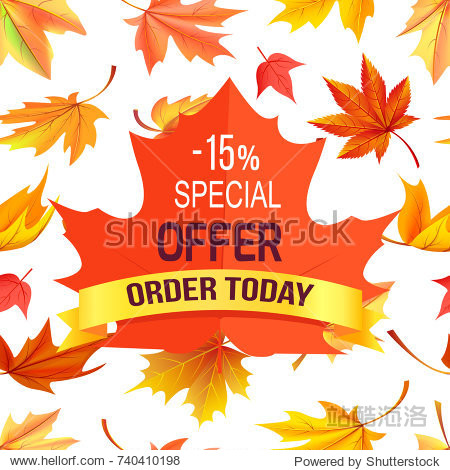 Special offer - 15% order today promo advertisement on red maple leaf on background of foliage icons isolated on white vector illustration poster