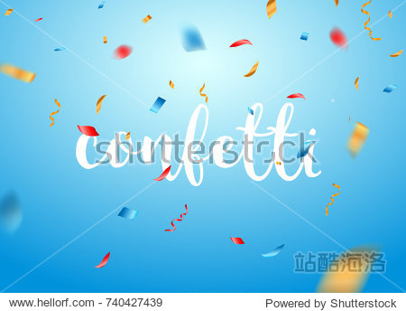 Confetti background vector isolated. Falling confetti birthday party decoration.