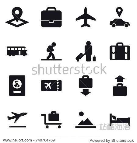 16 vector icon set : pointer  portfolio  plane  car pointer  bus  tourist  passenger  suitcase  passport  ticket  baggage get  baggage  departure  baggage trolley  landscape  bed