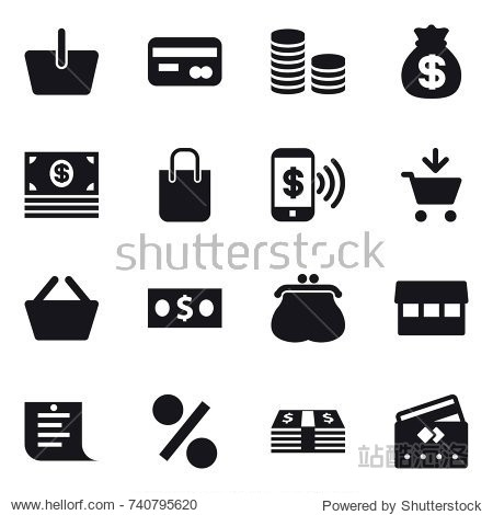 16 vector icon set : basket  card  coin stack  money bag  money  shopping bag  phone pay  add to cart  purse  market  shopping list  percent  credit card