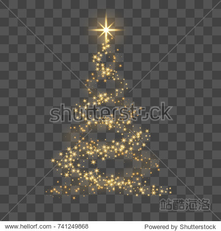 Christmas tree on transparent background. Gold Christmas tree as symbol of Happy New Year  Merry Christmas holiday celebration. Golden light decoration. Bright shiny design Vector illustration