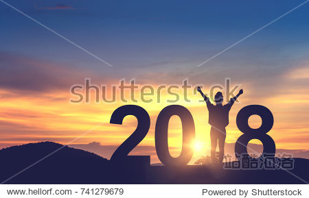 Silhouette freedom young woman Enjoying on the hill and 2018 years while celebrating new year  copy spce.