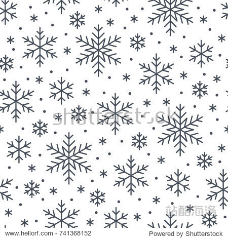 Christmas  new year seamless pattern  snowflakes line illustration. Vector icons of winter holidays  cold season snow flakes  snowfall. Celebration party black white repeated background.