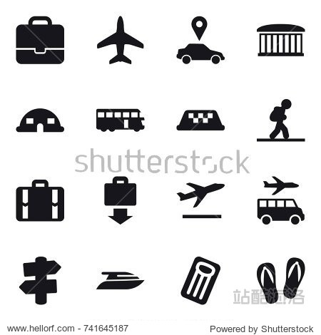 16 vector icon set : portfolio  plane  car pointer  airport building  dome house  bus  taxi  tourist  suitcase  baggage get  departure  transfer  signpost  yacht  inflatable mattress  flip-flops