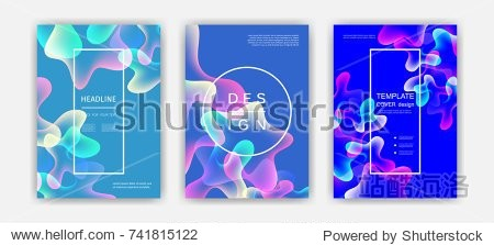 Fluid color covers set. Colorful bubble shapes with gradients. Trendy design. Eps10 vector.