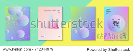Minimal shapes cover set with holographic fluid. Gradient on vibrant background. Modern hipster template for placard  cover  banner  flyer  presentation  annual. Minimal shapes cover in neon colors.