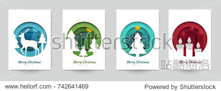 Set background for covers  invitations  posters  banners  flyers  placards. Minimal template design for branding  advertising with winter christmas composition in paper cut style. Vector illustration.