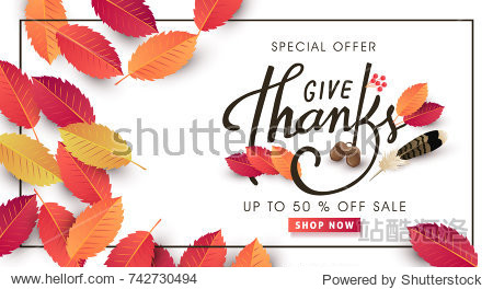 """""""give thanks"""" calligraphy of Thanksgiving day sale banner. Seasonal lettering.vector illustration"""