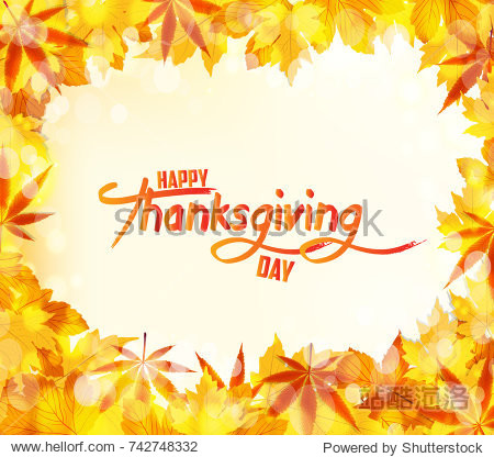 Happy Thanksgiving Day. Autumn leaves background