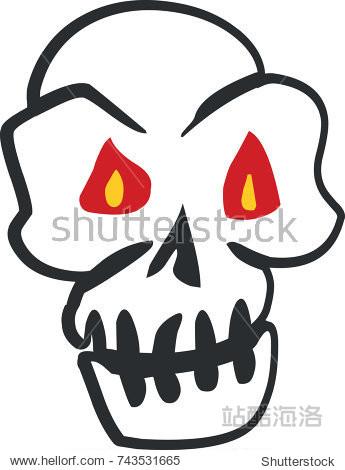 Skull Halloween sticker vintage decoration