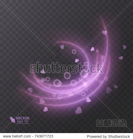 Abstract vector magic glow effect  decorative light effect of pink color  element for your design
