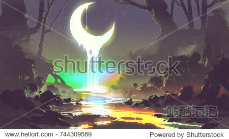 night scenery showing melting moon creates a glowing river  digital art style  illustration painting