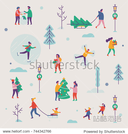 Beautiful vector winter season pattern featuring Christmas holidays outdoor activities. Abstract people making snowman  carrying xmas trees on sleigh  carrying gift boxes  ice skating  playing  etc.