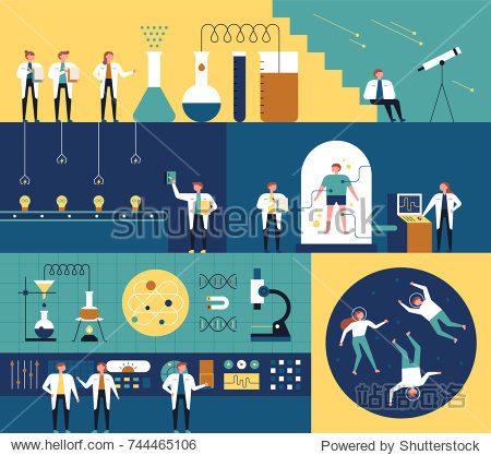 Researchers in the science lab and various laboratory concept designs. vector illustration flat design
