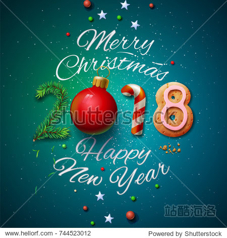 Merry Christmas and Happy New Year 2018 greeting card  vector illustration.