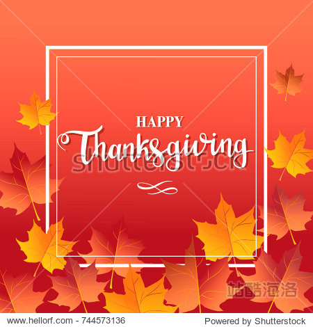 Happy thanksgiving day red background with maple leaves