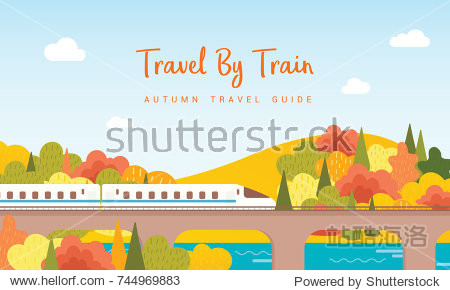 Travel By Train vector illustration  Railway running on the Viaduct with view of colorful autumn trees