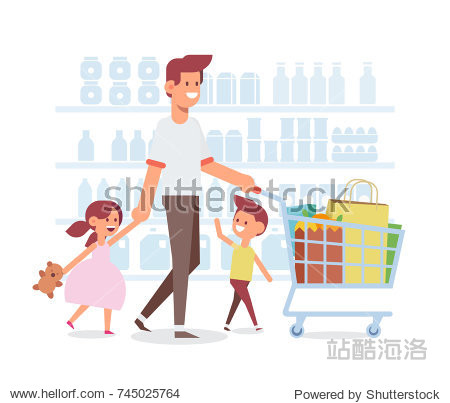 Family shopping with father. Dad and happy children in supermarket. Flat Vector illustration  cartoon design.