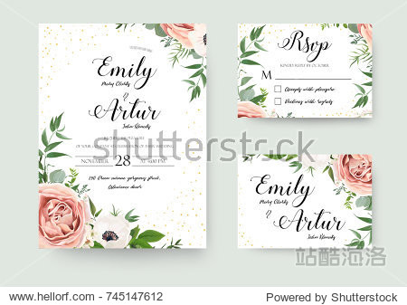Wedding vector floral invite invitation thank you  rsvp card watercolor design set: garden flower pink peach Rose white Anemone green leaves elegant greenery & golden glitter. Decorative modern layout