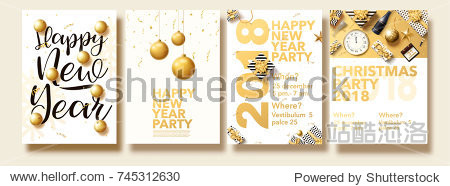 vector illustration of happy new year 2018 gold collors place for text christmas balls star champagne glass flayer brochure top view 2019