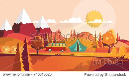 Flat Vector Landscape Illustration in Autumn. Countryside Camp  Vector Background.
