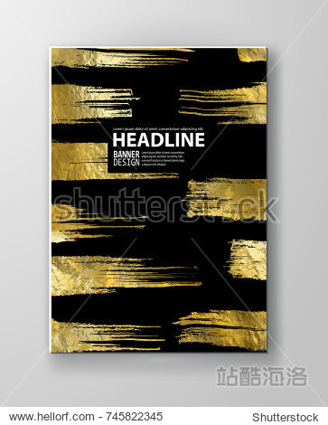 Vector Black and Gold Design Template for Brochures  Flyers  Mobile Technologies  Applications  Online Services  Typographic Emblems  Logo  Banners and Infographic. Golden Abstract Modern Background.