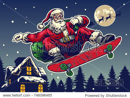 Santa claus ride skateboard in vintage hand drawing style