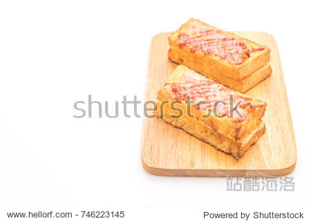 croque monsieur bacon ans egg sandwich with sauce isolated on white background