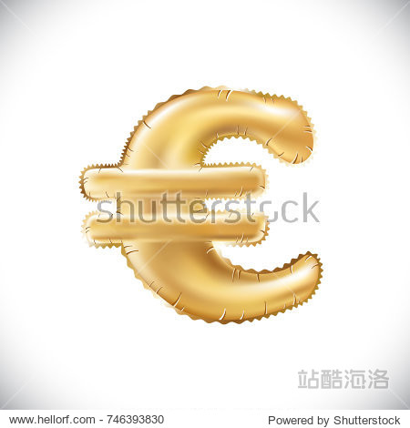 raster copy  Balloon Euro currency symbol. Realistic isolated gold helium balloon abc alphabet golden font text. Special sign decoration element for birthday or wedding greeting design art