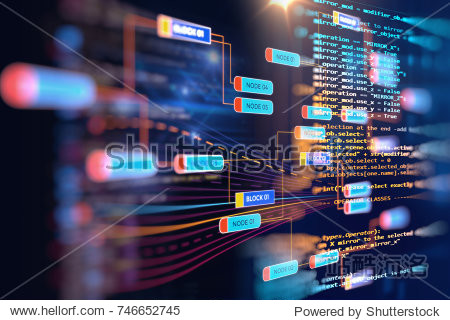 Abstract  Futuristic infographic with Visual data complexity   represent Big data concept  node base programming