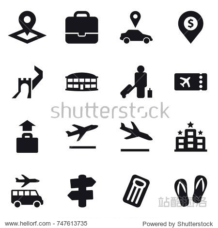 16 vector icon set : pointer  portfolio  car pointer  dollar pin  greate wall  airport building  passenger  ticket  baggage  departure  arrival  hotel  transfer  signpost  inflatable mattress