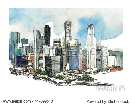 Panoramic Singapore city watercolor sketch. Skyline silhouette of the city. Hand draw with architecture. Colorful illustration of the business town for postcards  t-shirts