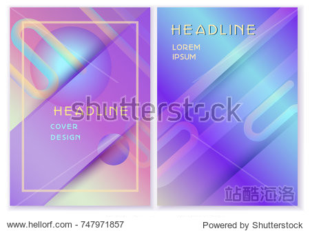 Futuristic pastel holographic color set.Vector template  geometric shapes  trendy blend liquid elements  gradient flux effect  used as cover  report  catalog  poster  banner  presentation  advertising